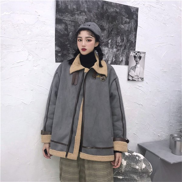 Mulheres Casacos de Camurça 2018 Harajuku Faux Fur Solto Casaco de Inverno Bf Faux Cordeiro Jaquetas Motocicleta Punk Grosso Acolchoado Casacos Streetwear