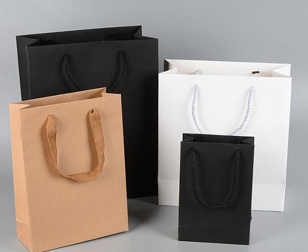 10 sizes stock and customized paper gift bag brown white black wedding favors kraft paper bag with handles wholesale