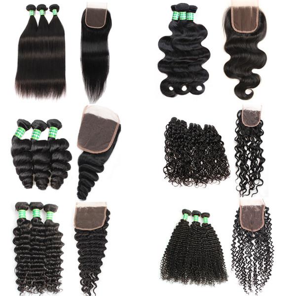 Haarverlängerungen Remy Virgin Human Weave Einschlagfäden 4 * 4 Lace Closure Bundles 8-28 Zoll Tiefe Körper Lose Welle Unverarbeiteter Doppeleinschlag frei Teil