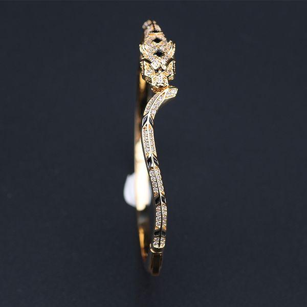 Designer Jewelry Luxury Women Leopard Bangle Rose Gold Woman Diamond Slim Bangles Charms Wedding Engagement Jewelry