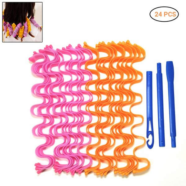 best selling 24 Pcs Diy Lady Magic Long Hair Curlers Spiral Ringlets Wave Curl Leverage Rollers Formers Ripple Hair Curlers SH190726