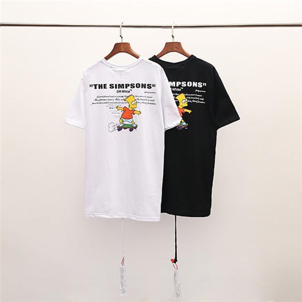 2019SS Yeni Lüks Marka Kapalı whitea ortak Simpson Erkek Kadın İlkbahar Yaz Kısa Kollu Açık Streetwear T-Shirt (büyüklüğü)