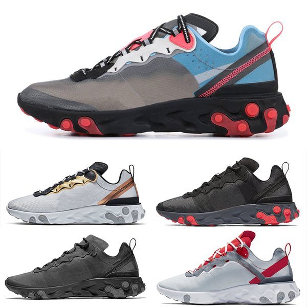 Nike Epic React Element 87 Undercover 2019 React Element Chaussures de course New Men Femmes Blanc Noir NEPTUNE GREEN Blue Mens Trainer Conception Respirant Baskets