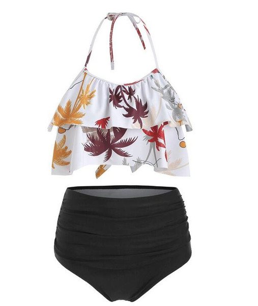 top popular Sexy New Womens Swimwear Bikini Printing Quick-dry Summer Ladies With chest pad without steel support Wear Size S-XL 2021