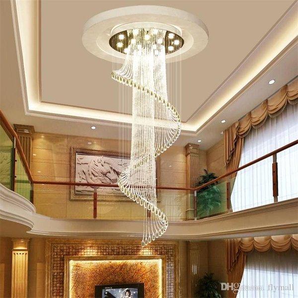 Moderno K9 Candelabros de cristal en espiral Luz de techo Moderna creativa LED sala de estar Hotel Villa Luz lámpara colgante lámpara colgante