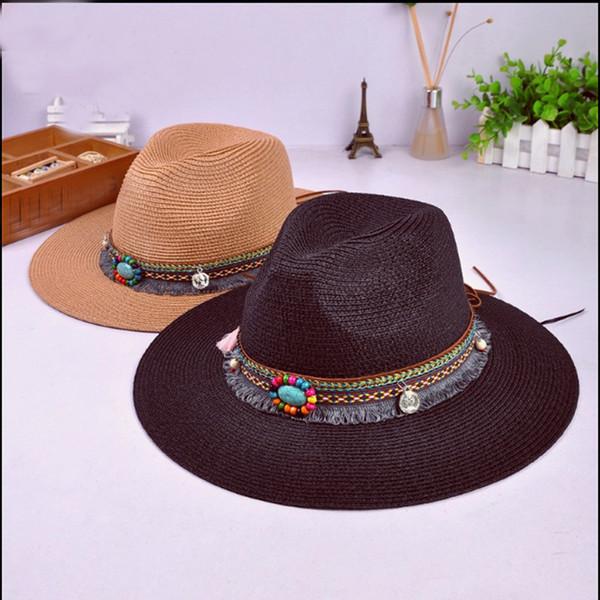 August Jim Mens West Cowboy Hats Summer Outdoor Beach Trip Straw Caps Unisex