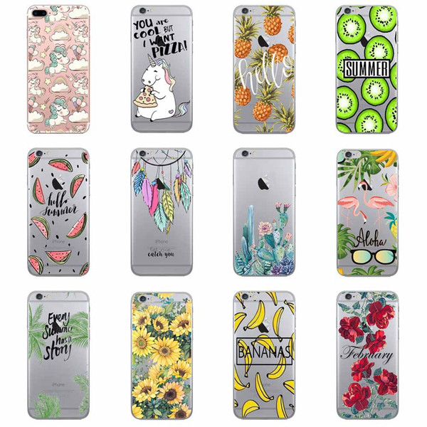 For Iphone Xr 6 7 8 X Plus Xs Max Fruit Jackfruit Cell Phone Case Summer Flamingo Transparent TPU Soft Phone Cases