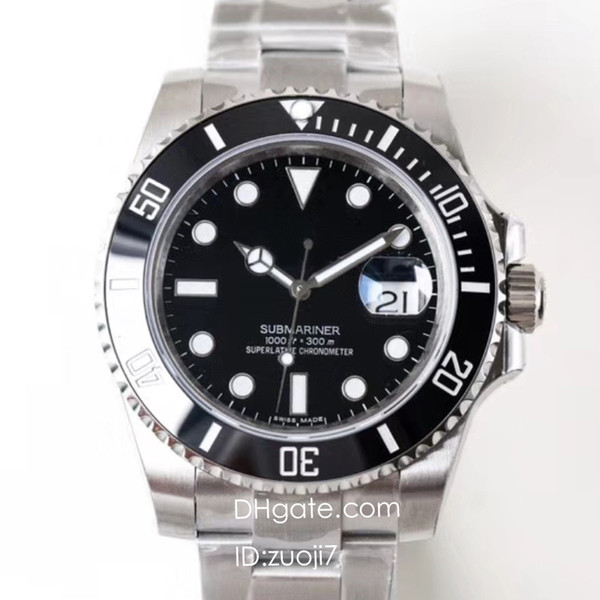 N Alta Buality Fábrica V7 Relógio De Luxo Dos Homens Eta Automático 2836 Relógios 116610LN Sapphire Dive Relógios DHL Frete Grátis relógio de Pulso