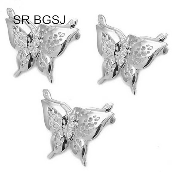 Free Shipping Jewelry DIY S925 Silver White Gold Plated Necklace Butterfly Shortner Clip Hook Clasp