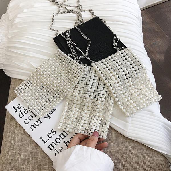 Pearl Handmade Beaded Box Totes Bag For Women 2019 Vintage Pearl Evening Party Handbag Dress Hands Bags Clutch for Wedding Bolsa