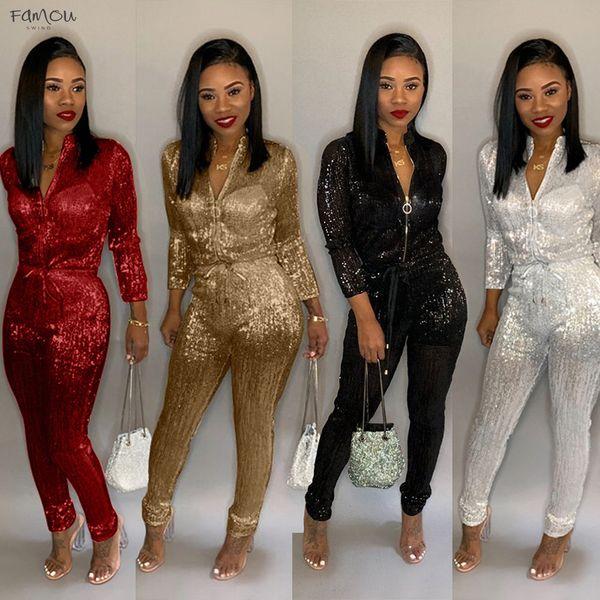 Women New Plus Size Gold Silk High Waist Zip Up Long Sleeve Jumpsuit Vintage 4 Colors Playsuit S-3Xl B9140