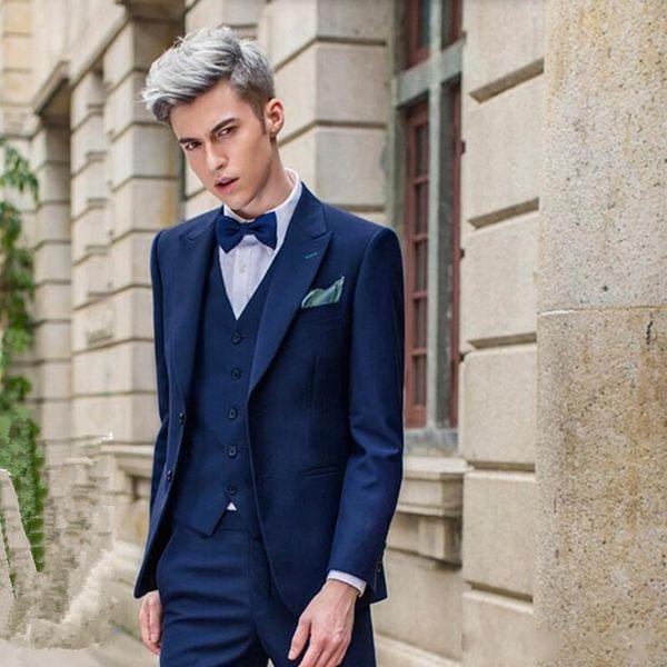 New Style Navy Blue Groom Tuxedos Peak Lapel Groomsmen Mens Wedding Dress Fashion Man Jacket Blazer 3 Piece Suit(Jacket+Pants+Vest+Tie) 815