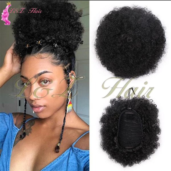 Synthetic Puff Afro Short Kinky Curly Chignon Hair Bun Drawstring Ponytail Wrap Hairpiece Fake Synthetic Puff Afro Short Kinky Curly Chignon