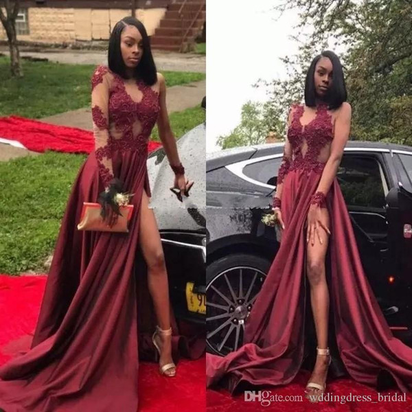 Burgundy Long Sleeves Thigh High Split Prom Dresses 2018 Black Girls Jewel Appliques Long Arabic Evening Party Gowns Custom Evening Dresses