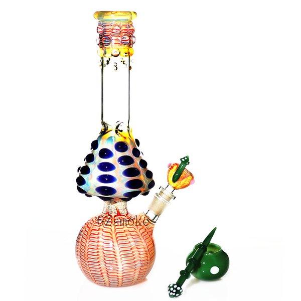 Pipa ad acqua Bong a fungo Zob Hitman Tipo Tubo dritto bong colorato bong fatto a mano impianti da bagno tubi di vetro inebrianti con 4 accessori