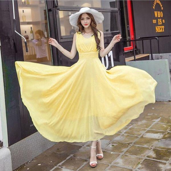 Summer Maxi Dress Women Fashion Sleeveless White Green Yellow Boho Bohemian Beach Chiffon Long Dress Big Plus Size 5xl Vestidos Y19012201