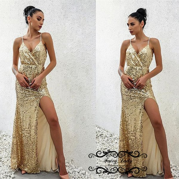 Brilliant Sequined Prom Dresses For Women 2019 Side Split Spaghetti Strap Backless Long Evening Dress Party Gown