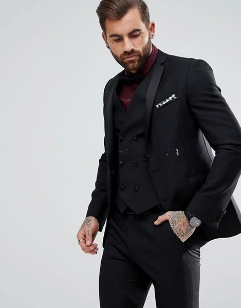 New Style Back Vent Two Buttons Black Wedding Groom Tuxedos Notch Lapel Groomsmen Men Suits Prom Blazer (Jacket+Pants+Vest+Tie) 156