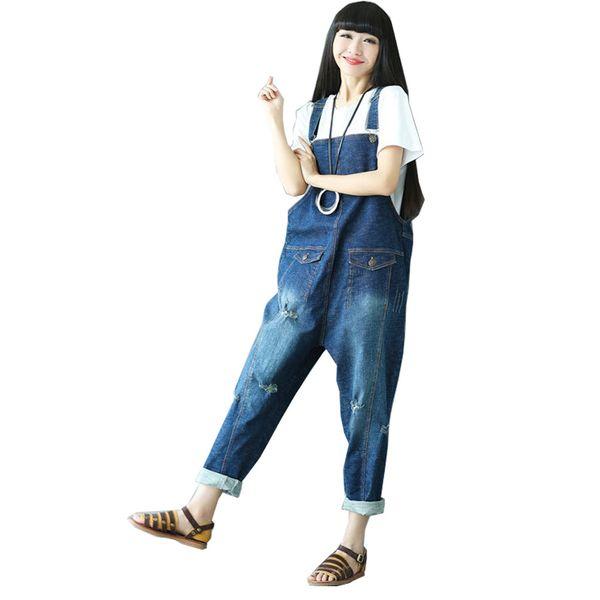 High Waist Jeans Woman Casual 2019 Autumn Winter Cotton Rompers Womens Jumpsuit Denim Overalls for Women Holes Combinaison Femme Blue