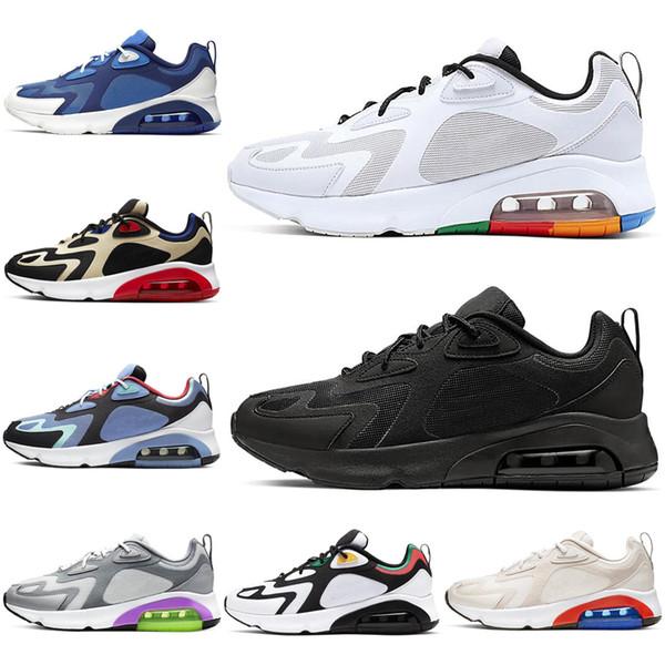 Acheter Nike Air Max 200 Chaussures De Course Pour Femmes Hommes Bordeaux Mystic Vert Désert Sable Piste De Sable Vaste Gris Hommes Formateurs Baskets