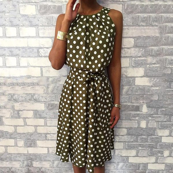 Women Fashion Off Shoulder Summer Dress Polka Dot Sleeveless Dresses Casual Loose Dress With Sashes Womens vestido beach dresses