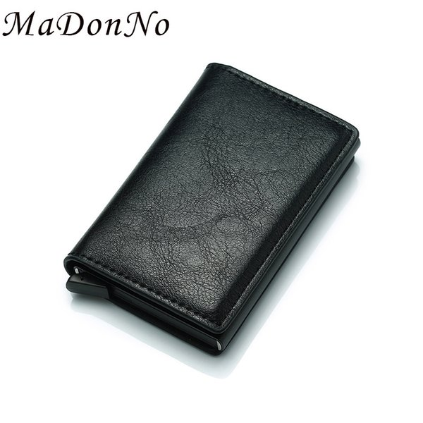 High Quality Card Wallet Leather Metal Wallet Small Magic Men Wallet Slim Mini Male Purse Money Bag Walet Valet Drop Shipping MX190720