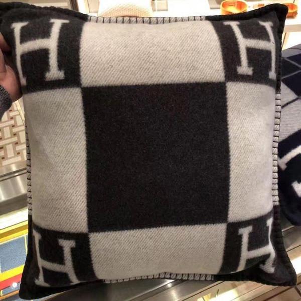 Smelov fashion vintage fleece pillowcase letter H brand european pillow cover covers wool throw pillow case