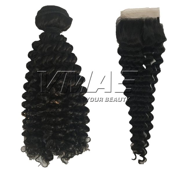 Lace Frontal Closure Brazilian Kinky Curly 3 Bundles With 4*4 Closure Unprocessed Virgin Hair Brazilian Curly Human Hair Weaves 12-28 inch