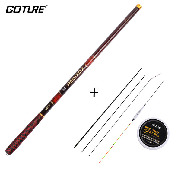 Rods Goture Stream Carp Fishing Set RED FOX Carbon Stream Hand Fishing Rod ,Float And Line Rig Kit With Spare Top