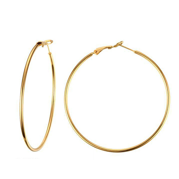 Exaggerated Womens Plain Stainless Steel Round Wire Circle Clip On Hoop Earrings 18K Gold Plated