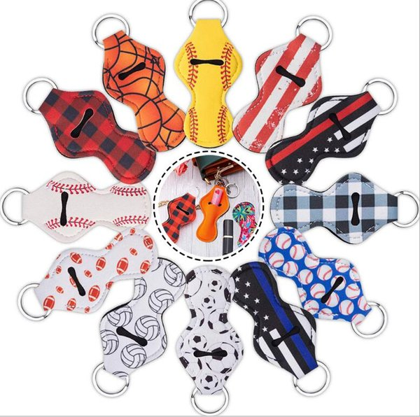 Lipstick Holder Keychain Portable Fashion Print Lip keyring Chapstick Key Chain Holder for Kids and Adult