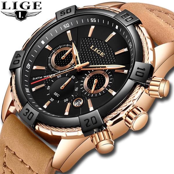 2019 Nuevos Relojes para Hombre Top Marca de Lujo LIGE Deportes de Moda  Impermeable Fecha 24 dd033b227963