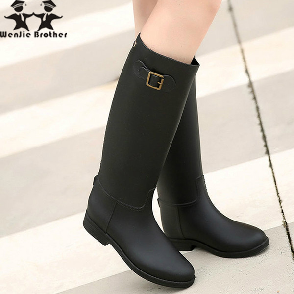 wenjie brother hot rubber rain shoes Knee-high Rain Boots Buckle PU Waterproof Motorcycle lady long boots Woman rainy Shoes
