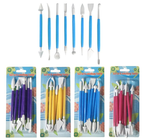 8pcs/Lot Sugar Craft Fondant Cake Pastry Carving Cutter Chocolate Decorating Flower Clay Modelling Plastic Baking Craft Tool Set