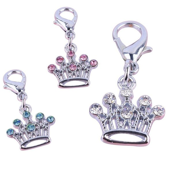 Dog Tag Crystal Crown Shaped Charm Pendant For Pet Collar Accessories Rhinestone Dog Pet ID Tags Supplies