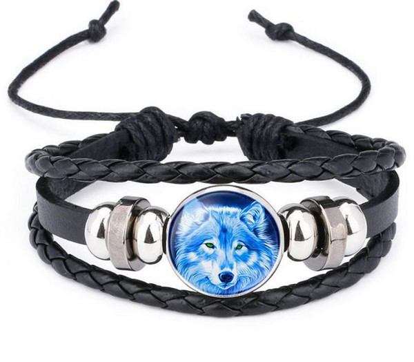 top popular Moon Wolf Howling Handmade Glass Cabochon Woven Leather Bangles Mens Black Cool Punk Animal Bracelet Moonlight Gemstone Bracelets 2021