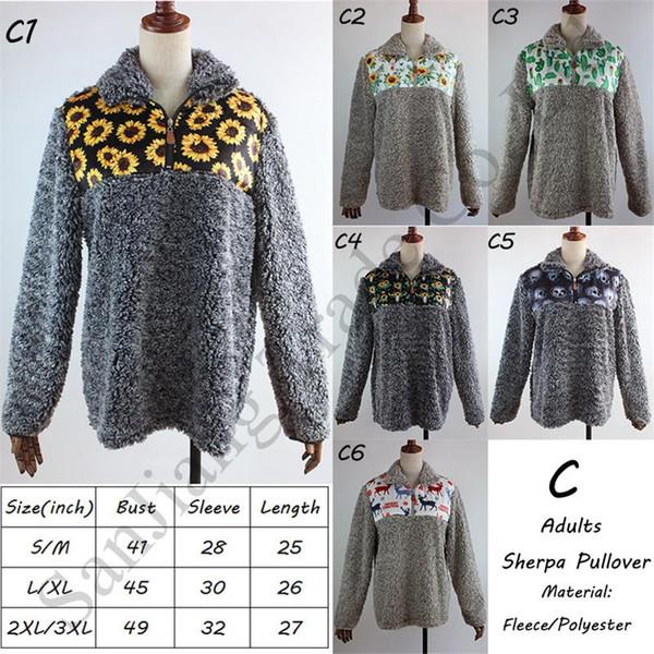 Women Fleece Sweatshirt Sherpa Pullovers Zip Collar Berber Hoodie Plaid Floral Patchwork Long Sleeves Sweaters Furry Blouses Tops C91706