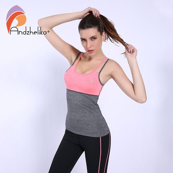 99e31ddd866 Andzhelika nuevo deporte chaleco fitness yoga para mujeres gimnasio  corriendo chaleco sin costuras push up transpirable