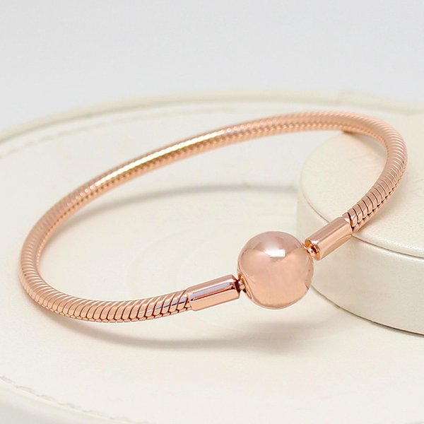 Women Mens Luxuries18K Rose gold plated Bracelets Original box for Pandora 925 Sterling Silver Smooth Snake Chain Bracelet