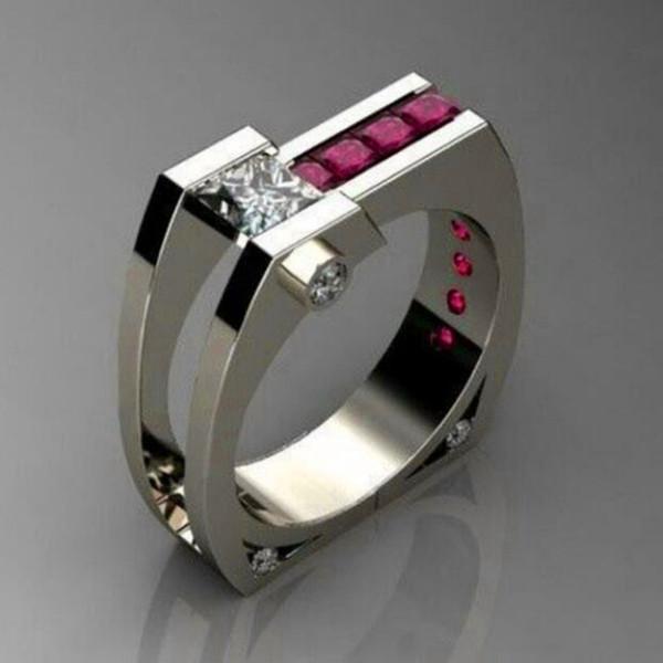 Único Feminino Cristal Red Zircon Pedra Anel Nova Moda Cor Prata Partido Dedo Anel De Casamento De Luxo Promise Anéis Para As Mulheres