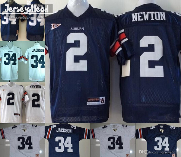 Men youth tiger 2 cam newton 34 bo jack on kid navy blue white with orange leeve ncaa college football titched jer ey