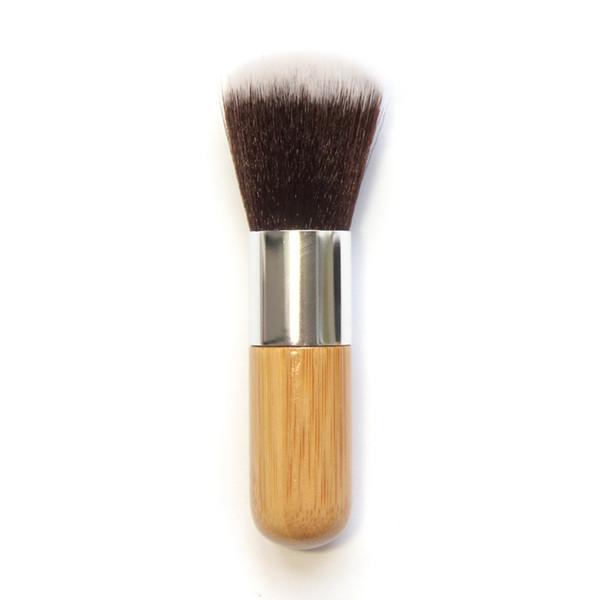 Mango de madera Base de Maquillaje Cepillo Cepillo de Mango de Bambú Plana Superior Redonda Cepillo Multifunción Base de Polvo Colorete Cepillo RRA996