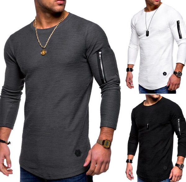 2019 men's clothing tops long-sleeved T-shirt summer long-sleeved arm zipper stitching round neck European and American fashion men's T-shir