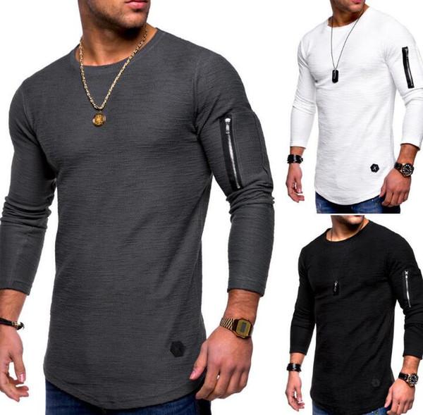 2019 vêtements pour hommes tops T-shirt à manches longues été bras zippés couture autour du cou mode européenne et américaine hommes T-shir
