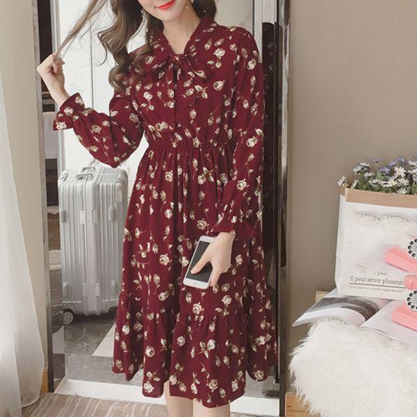 Sommer koreanische Chiffon Frauen Kleid elegante Damen Vintage langes Kleid Boho Floral Büro Langarm Vestidos Kleidung 5LYQ003
