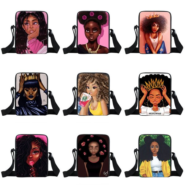 Afro Girls One-Shoulder Rucksäcke 35 Design Cartoon Charakter Crown Girl Multi Function Square Taschen Kids Design Messenger Bag 04