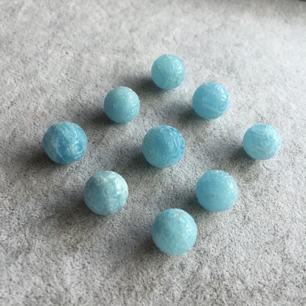 pc uno Aquamarine rotonda intagliata 14 / 16MM per gioielli fai da fare perline sparse 14inch FPPJ perline all'ingrosso gioiello di pietra naturale