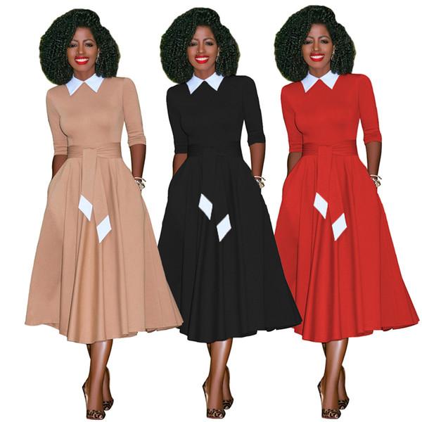 Vestito da donna a maniche lunghe in piumino a mezza manica rovesciato con mezza manica Abiti da festa vintage Abiti da lavoro da donna