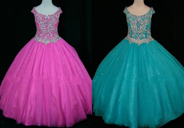 2019 Sparkly Aqua Hot Pink Crystal Toddler Girls Pageant Dresses Ball Gown Off the shoulder With Sleeves tulle Long Flower Girls dress