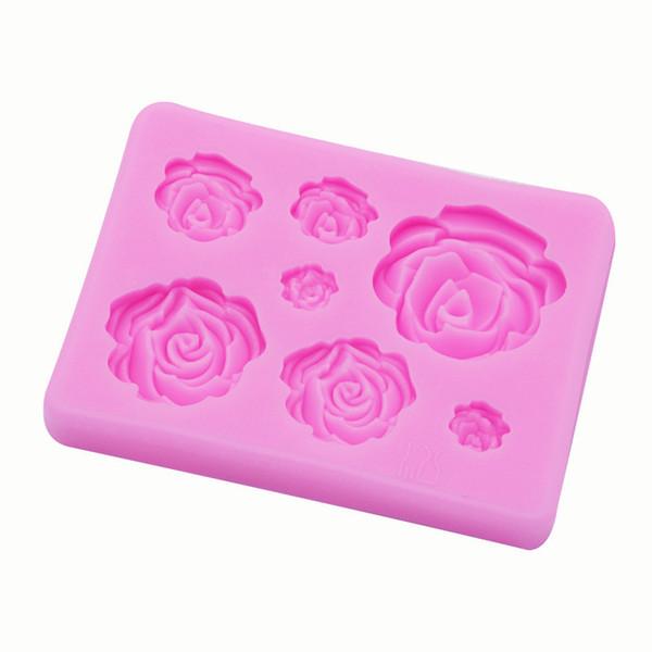 Stampo per cioccolato fatto a mano con sapone fai-da-te Silicone 3D Rose Fiori Forma Stampi per cottura Stampi per decorazione torta 2 Colori puri 1 98ty E1